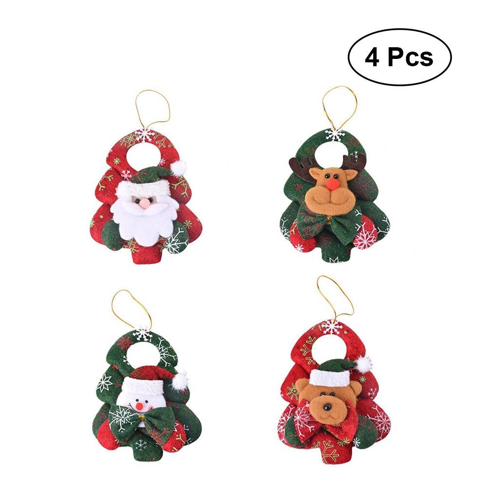 4 pcs Christmas Doll Ornaments Cute Deer Snowman Santa ...