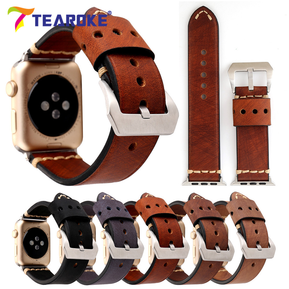 Vintage Red Brown Crazy Horse Genuine Leather Watchband For Apple Watch 38mm 42mm Women Men Replacement Band Strap for iwatch new arrive top quality oil red brown 24mm italian vintage genuine leather watch band strap for panerai pam and big pilot watch