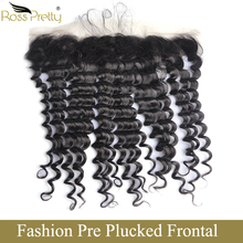 Ross Pretty Peruvian Lace Frontal Deep Wave hair Natural Color Remy Human Hair Pre Plucked Front with Baby