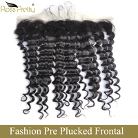 Ross Pretty Peruvian Lace Frontal Deep Wave hair Natural Color Remy Human Hair Pre Plucked Lace Front with Baby Hair