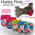 Feliz flauta OS AIO pañal de bambú del carbón de leña con dos bolsillos, incluyendo un cosido en el inserto de carbón de bambú, Sml ajustable