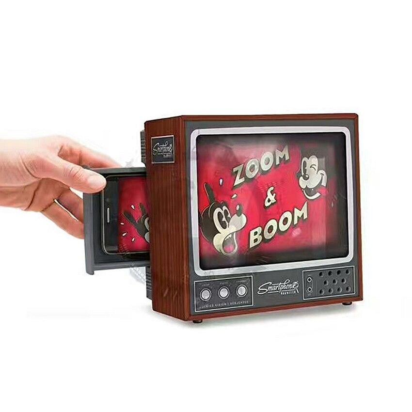 DIY cartón clásica TV Set estilo 2X pantalla Fresnel lente lupa Ampliador lupa para el teléfono inteligente ver