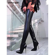 купить 2019 New Leather Thigh High Boots Women Boots Sexy Over The Knee Boots High Heel Trendy Ladies Boots Fashion Winter Shoes Woman по цене 4917.52 рублей