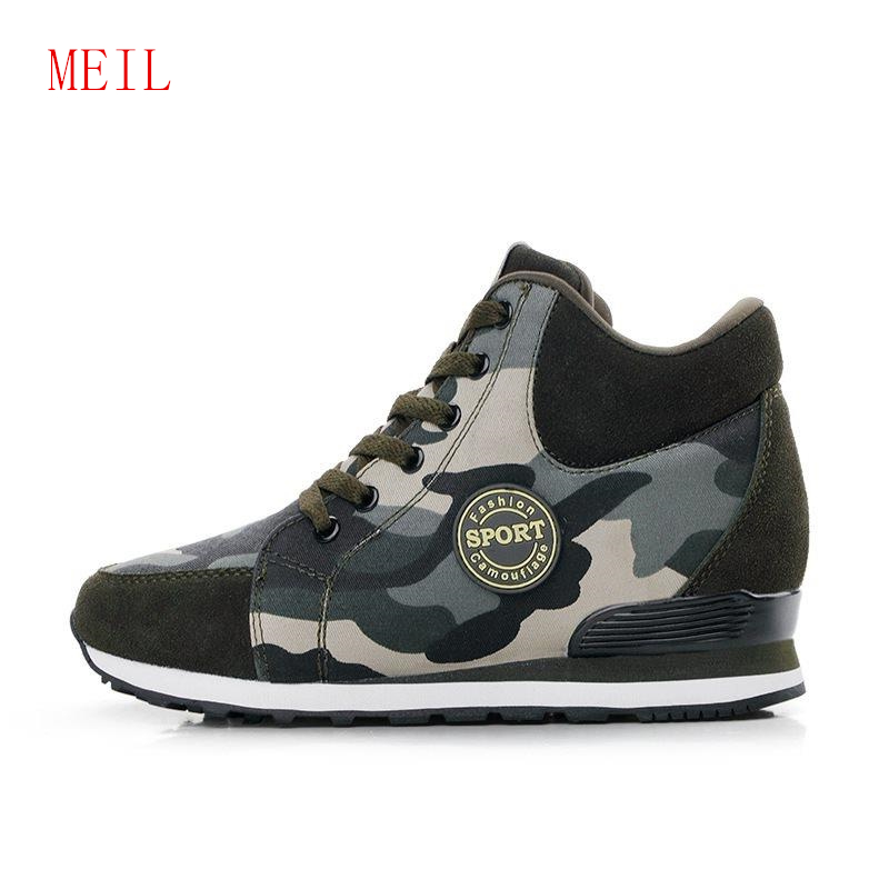 Size 42 Camouflage 6CM Height Increasing Casual Shoes Wedges Canvas Platform Woman Luxury High Top Lace Up Sneakers