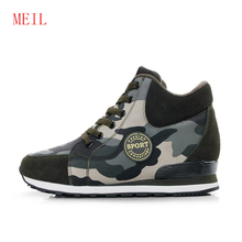Size 42 Camouflage 6CM Height Increasing Casual Shoes Wedges Canvas Platform Woman Shoes Luxury High Top Lace Up Shoes Sneakers все цены