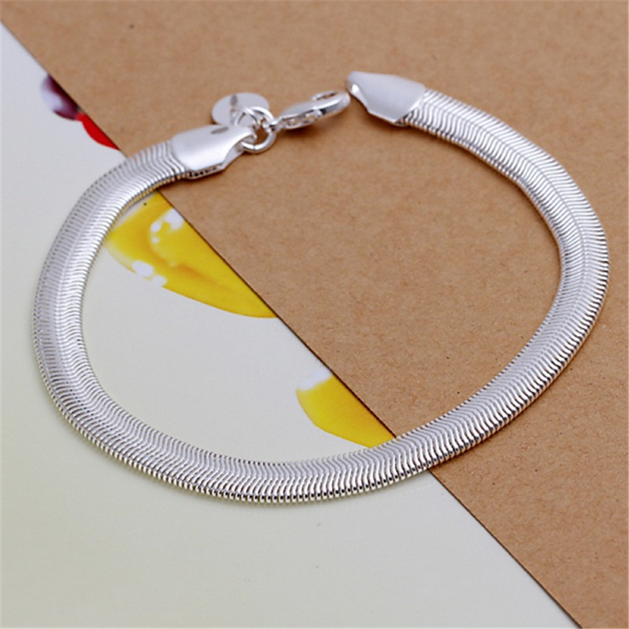 silver color jewelry Simple 6MM flat snake bracelets new women lady high -quality fashion jewelry Christmas gifts H164