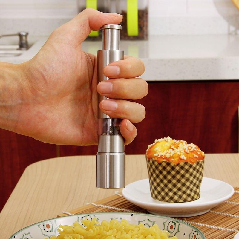 Salz Pfeffer Mühlen Grinder Pimenta Manuelle Push Silber Mais Senf Daumen Push Samen Grinder Spice Sauce Muller Stick Küche Werkzeuge