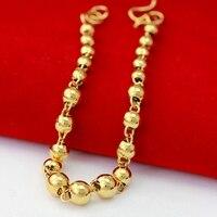 Glatte Perlen Kette Armband Gelbgold Gefüllt Schmuck Für Frauen Männer