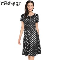Meaneor 2018 Spring New Women Casual O Neck Short Sleeve Animal Prints A Line Pleated Hem