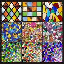 Stained glass window film Custom electrostatic Church frosted home foil door stickers PVC self-adhesive films