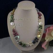 Очаровательное женское жемчужное ожерелье, разноцветное ожерелье из натурального пресноводного жемчуга, ювелирные изделия из натурального жемчуга и риса