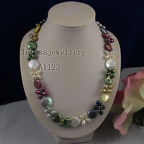 Collier de perles de charme pour femme multicolore véritable collier de perles d'eau douce pièce de monnaie naturelle et bijoux de perles de riz
