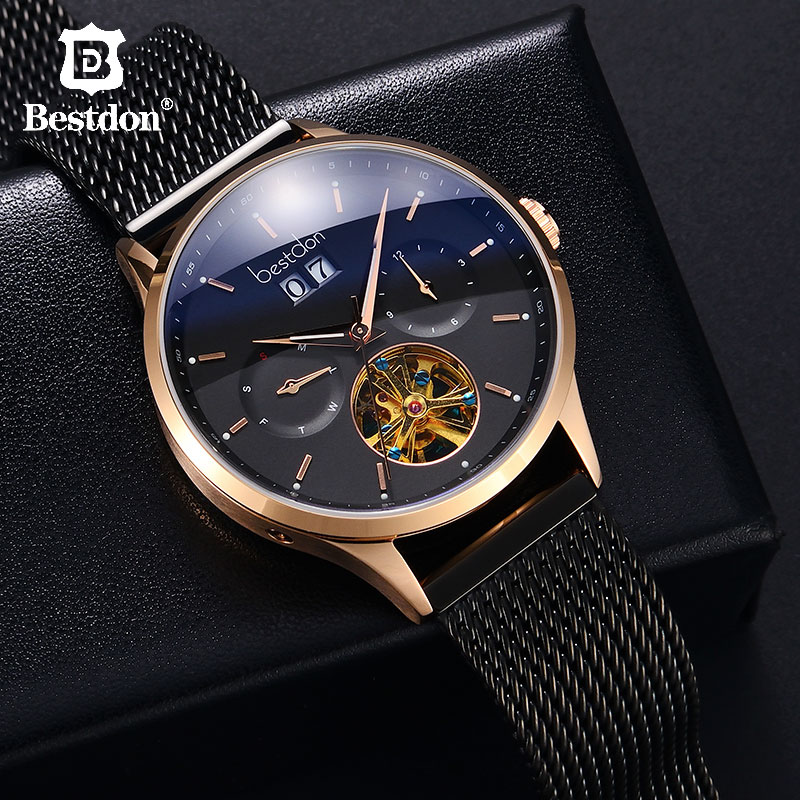Bestdon Switzerland Automatic Watch Men Mechanical Waterproof Skeleton Watches Fashion Full steel Luminous Date Pilot Wristwatch