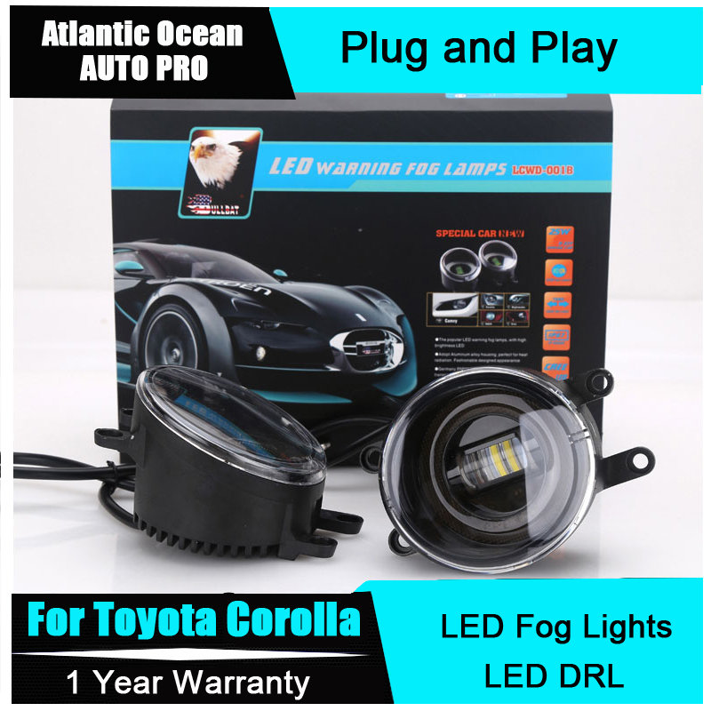 JGRT For Toyota Corolla led fog lights+LED DRL+turn signal lights Car Styling LED Daytime Running Lights LED fog lamps car styling fog lights for toyota camry 2012 2014 pair of 12v 55w front fog lights bumper lamps daytime running lights