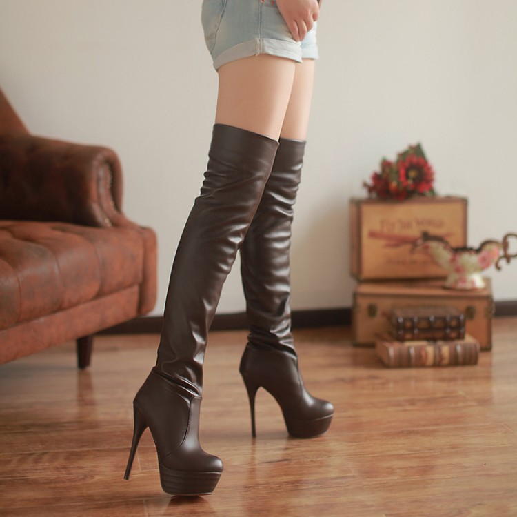Sexy High Heel Round Toe Fashion Over the Knee High Martin Women Boots Stiletto Pull On Platform Thigh High Knight Bootie Shoes leopard synthetic suede women pointed toe high stiletto heel boots knee high lace up bootie women platform shoes ladies 2016