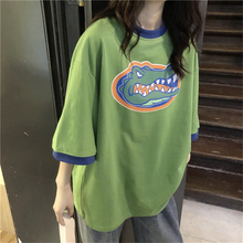 Girls summer cotton cartoon five-point sleeve t-shirt Korean fashion trend blue green crocodile print loose casual short
