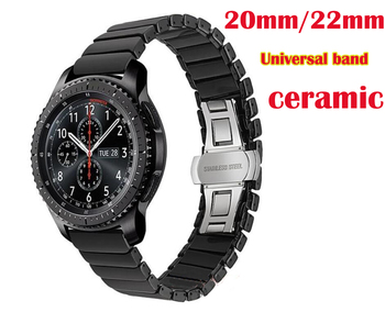 Butterfly Buckle Ceramic band for Samsung Galaxy watch 42 46 active Gear sport s2 s3 Neo Live zenwatch 1/2 Ticwatch E Pro strap