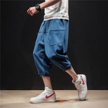 Streetwear Calf-Length Pants Multi-Pockets Solid Color Mens Elastic Waist Large Size