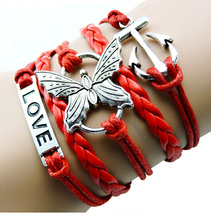 Hot Selling Handmade Silver Butterfly & Anchor Charms Infinity Love Bracelet Red & Blue Woven Leather Punk Bracelets