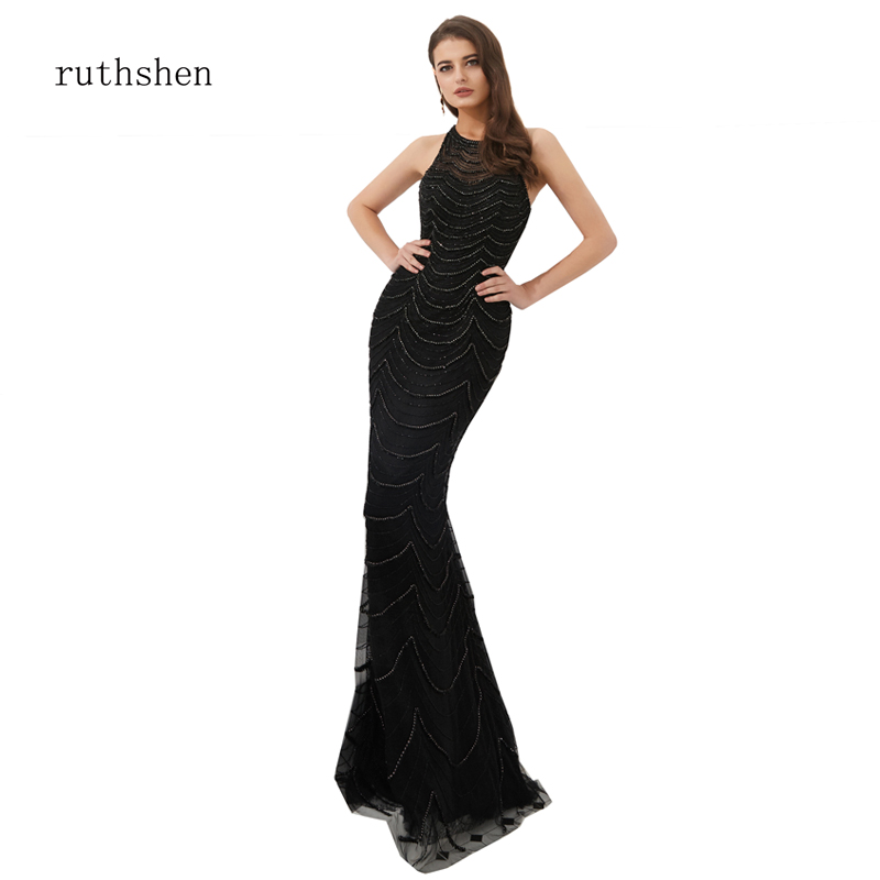 ruthshen Helter Bodycon Mermaid   Dress   Black Heavy Handmade Crystals Fringes Long   Evening     Dress   Lady Birthday Celebrate   Dresses