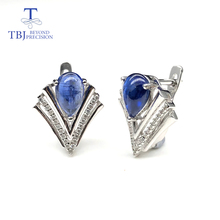 Natural gemstone blue kyanite earrings 925 sterling silver fashion V design fine jewelry nice Anniversary gift for women