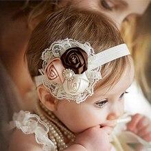Новорожденных Головные уборы Детская повязка на голову с цветами розовый Кружево ленты для волос девушка Фетр цветок шарф Женские аксессуары для волос w-033