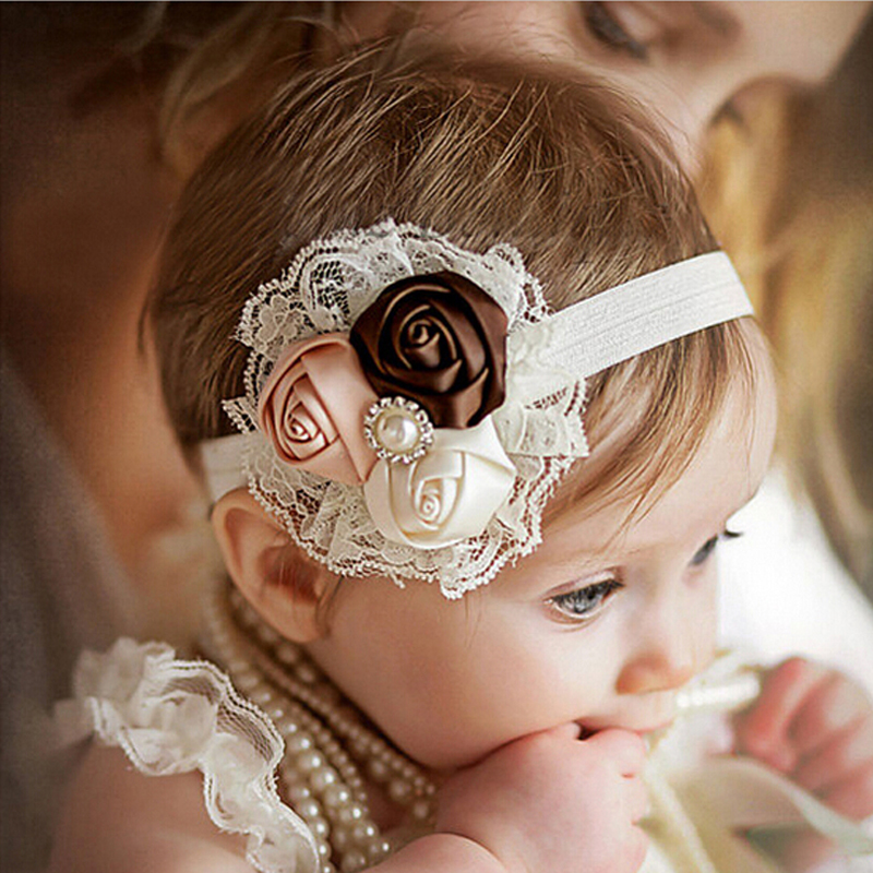 Newborn Headwear Kids Flower Headband Pink Lace Hair Bands Girl Felt Flower Scarf Hair Accessories w-033 metting joura vintage bohemian green mixed color flower satin cross ethnic fabric elastic turban headband hair accessories