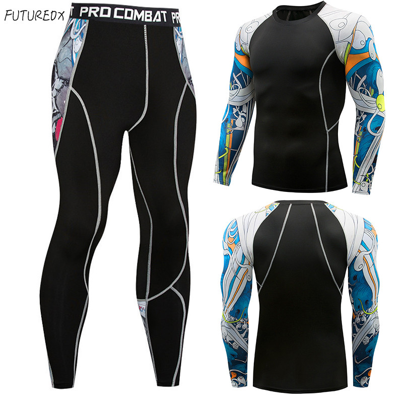 2018 Winter T-shirts Leggings Set Men Clothing Thermal Underwear Rashgard MMA Compression 2 Piece Tracksuit Men Brands