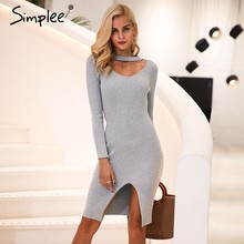 Simplee Halter V neck sexy knitting sweater dress women Elastic soft split black autumn winter dress Bodycon long sleeve dress(China)