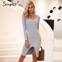 Simplee Halter V Neck Sexy Knitting Sweater Dress Women Elastic Soft Split Black Autumn Winter Dress