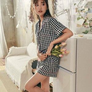 Image 4 - Womens Zomer Shirt Korte Mouw Korte Broek Pyjama Twee stuk Nachtkleding Katoen Plaid Losse Borstvoeding Pijama Vrouw Kleren