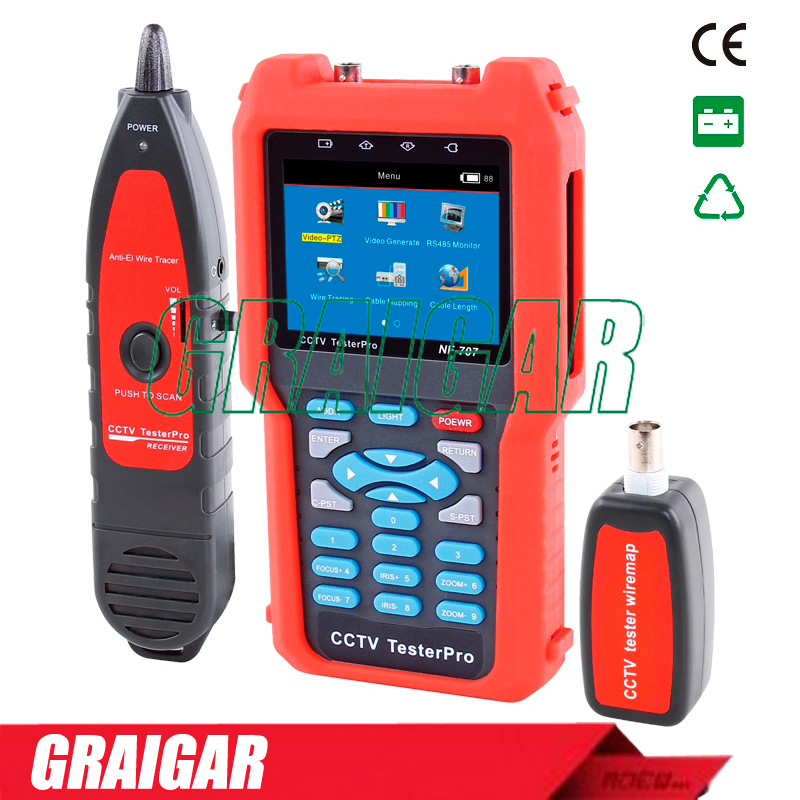 NF-707 CCTV Cable Tester Analog CVBS Signal RJ45 BNC and Metal Cable Length ...