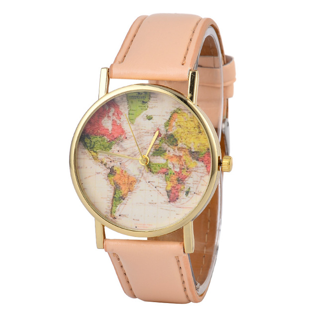 Hot sale fashion lovers world map design gold dial leather strap hot sale fashion lovers world map design gold dial leather strap students casual quartz watches gifts gumiabroncs Images