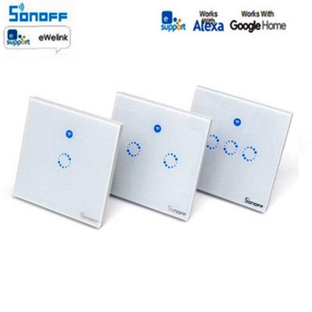 Sonoff T1 inteligente interruptor 1-3Gang Reino Unido UE WiFi RF y 86 tipo de pared inteligente táctil interruptor de la luz de automatización de casa inteligente módulo de Control Remoto
