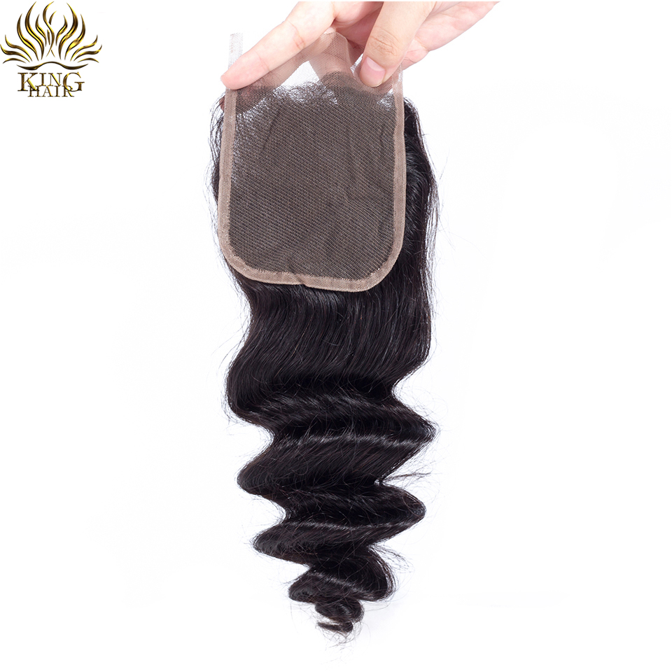 King Hair Peruvian Loose Wave Hair Weaving One Piece 4x4 Free Part 130 Density Lace Closure Swiss Lace Remy Human Hair Weaves