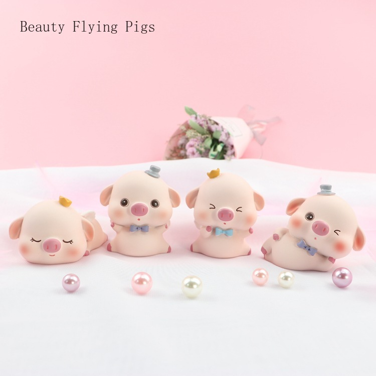 Car Ornaments Cute Simulation Pigs Decoration 3D Resin Cartoon Funny Pig Auto Interior Decorations Accessory Cakes Decor Toys(China)