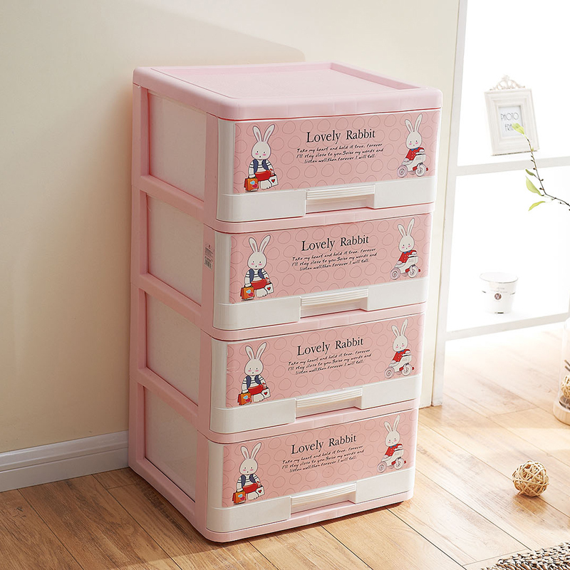 Along the United States pink rabbit plastic drawer storage cabinets lockers finishing cabinet baby wardrobe boxes Jiangsu Zheji-in Storage Boxes u0026 Bins ... & Along the United States pink rabbit plastic drawer storage cabinets ...