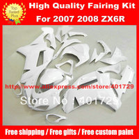 Bright white motorcycle body work for Ninja ZX6R 2007 2008 ZX 6R 07 08 ZX6R 07 08 free gifts ABS Plastic fairing kit