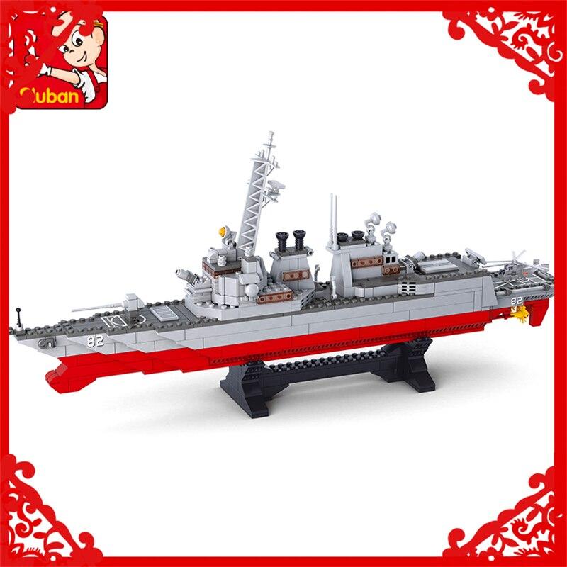SLUBAN 0390 615Pcs Army Navy Destroyer Warship Model Building Block Compatible Legoe  Figure Toys Gift For Children sluban 0338 cargo truck vehicle building block 345pcs diy educational toys for children compatible legoe