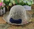 wholesale NEW children baby summer sunhat handmade straw hat with bow beach straw hat cap sunhat