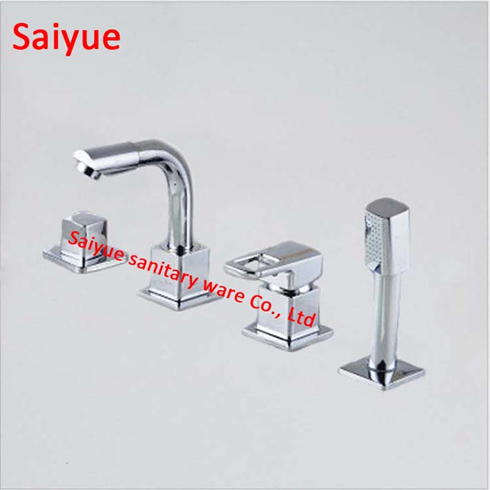 360 degree rotating 4pcs Chrome color Brass Bathtub Faucet Tap Deck ...