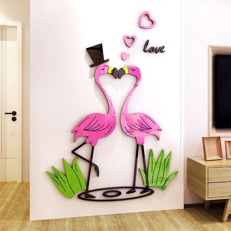 Creative DIY Love flamingo INS chidren 39 s room bedroom living room TV background wall decoration 3D acrylic wall sticker in Wall Stickers from Home amp Garden