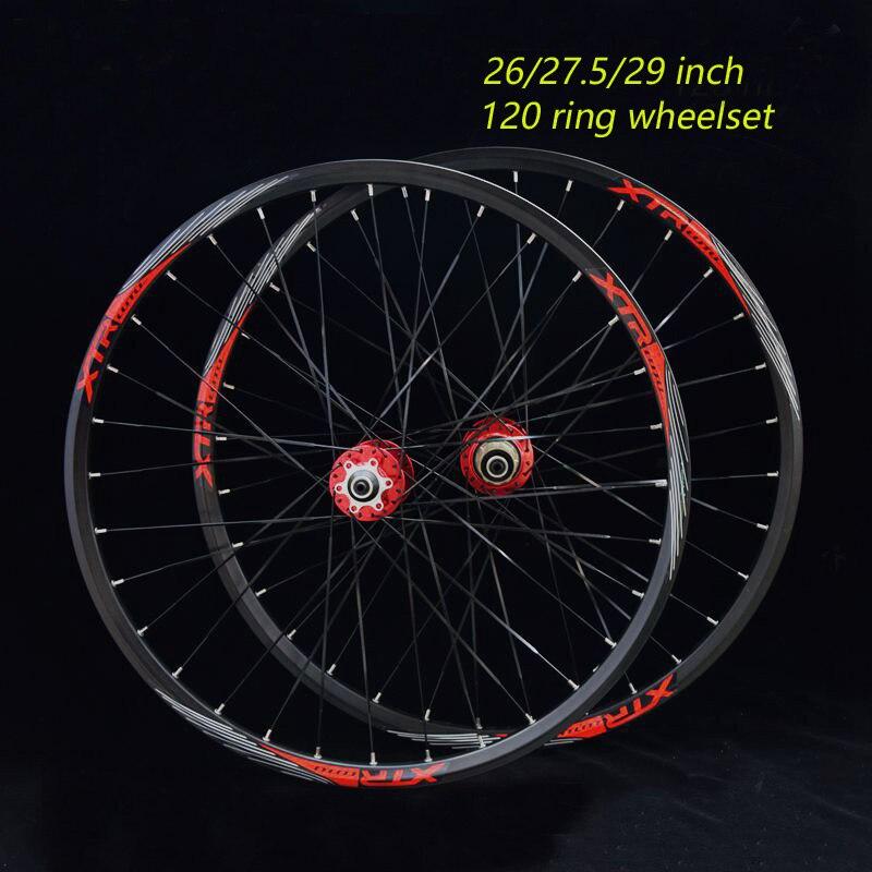 Spor ve Eğlence'ten Bisiklet Tekerleği'de 27.5 inç MTB Dağ Bisiklet Tekerleği 120 Halka Bisiklet Tekerlek 32 Delik Rulman Hub için 26 inç Tekerlek title=