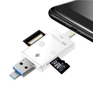 Image 2 - LL تاجر i Flash Drive متعدد بطاقة OTG قارئ HD مايكرو SD و TF ذاكرة USB محوّل قارئ البطاقات لجهاز iPhone 8/Andriod/PC