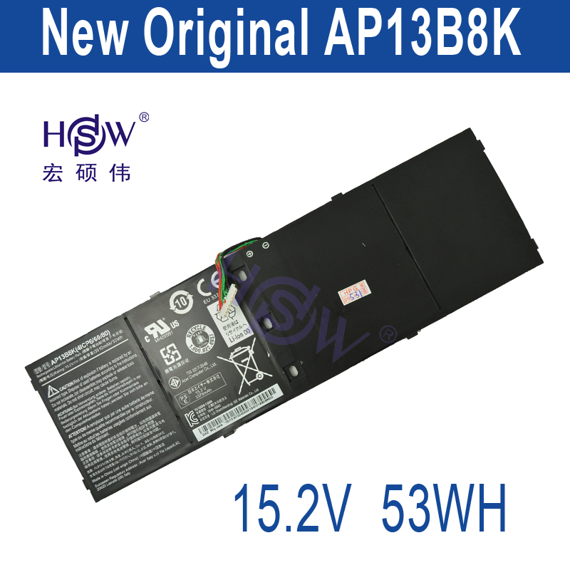 HSW New genius 15.2V 53Wh 3510mAh AP13B8K Battery For Acer Aspire V5 M5-583P V5-572P V5-572G 4ICP6/60/78 bateria akku soaringe 3d printer assembled all metal long distance j head for bowden extruder 0 4mm x 3mm