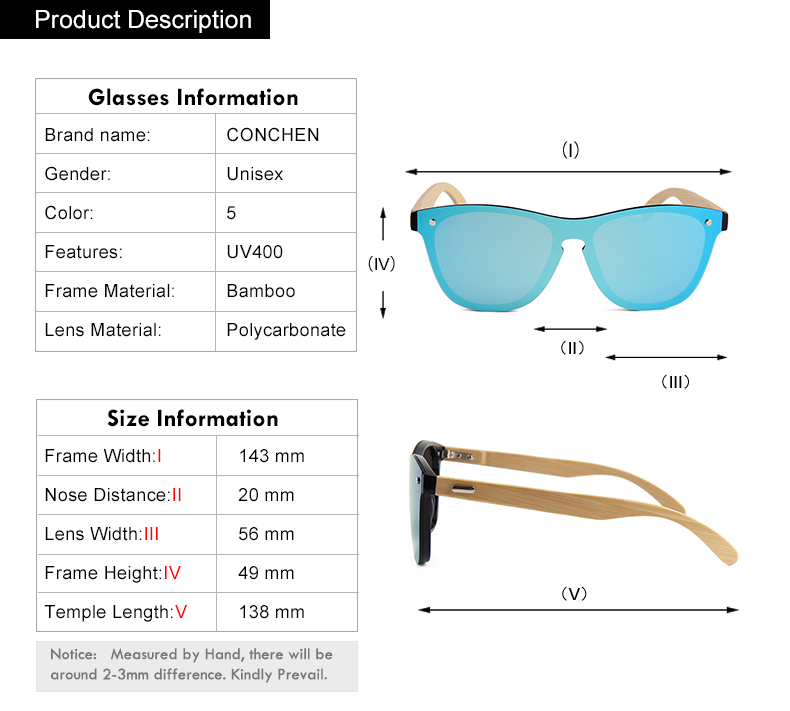 CONCHEN Mirror Lenses Bamboo Wooden Sunglasses 14