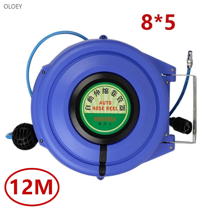 OLOEY 12M Automatic Retractable Reel Telescopic Drum Hose PU8*5 OD 8MM ID 5MM Automotive Air Hose Reel Pneumatic Hose PU TubeOLOEY 12M Automatic Retractable Reel Telescopic Drum Hose PU8*5 OD 8MM ID 5MM Automotive Air Hose Reel Pneumatic Hose PU Tube
