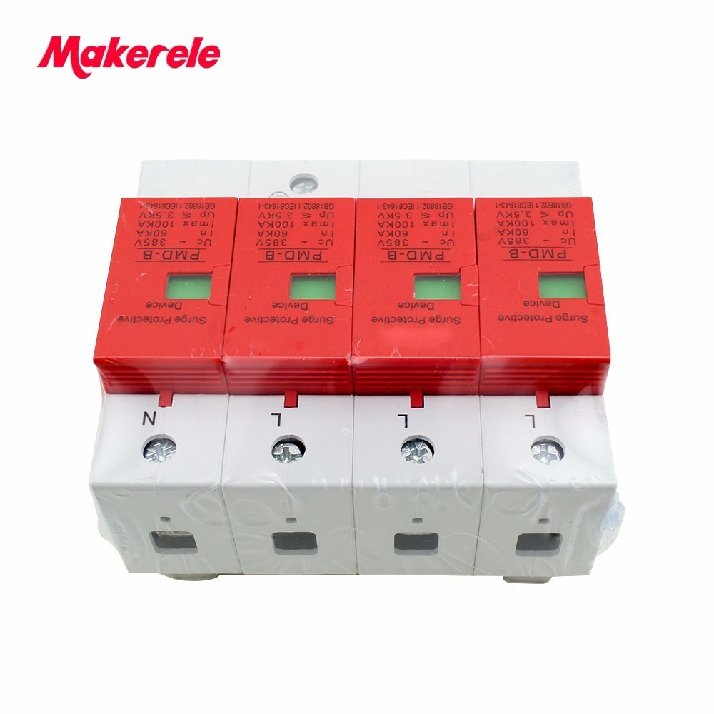 все цены на SPD 4P 60KA~100KA ~420VAC AC House Surge Protector Protective Low-voltage Arrester Device Din Rail онлайн