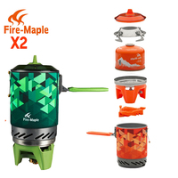 FMS X2 New Fire Maple Compact One Piece Camping Stove Heat Exchanger Pot Camping Equipment Set