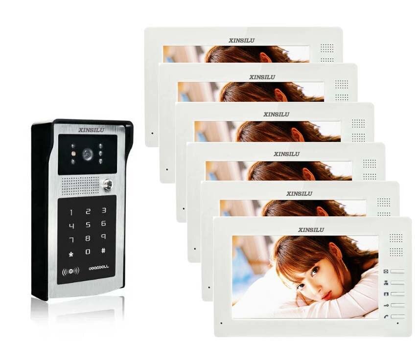 XINSILU 7 Video Door Phone Intercom Doorbell Touch Button ID Cards/Code Unlock Night Vision Rainproof CCTV Camera Home Security